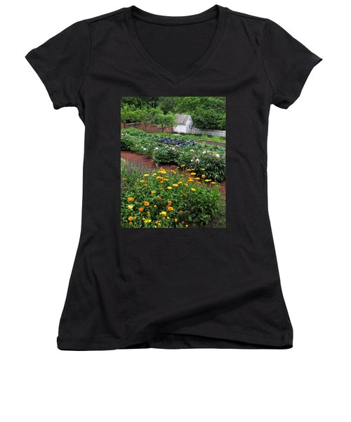 A Williamsburg Garden Women's V-Neck T-Shirt (Junior Cut) by Dave Mills