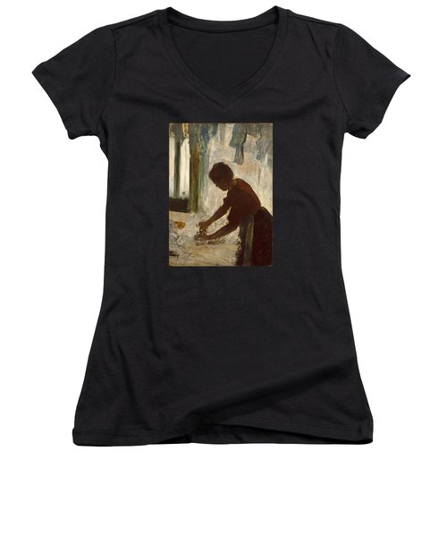 Women's V-Neck T-Shirt (Junior Cut) featuring the painting A Woman Ironing by Edgar Degas