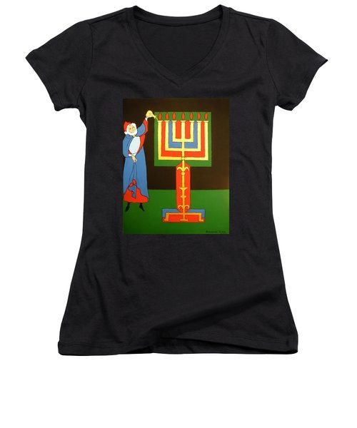 Women's V-Neck T-Shirt (Junior Cut) featuring the painting Aaron Lighting The Menorah by Stephanie Moore
