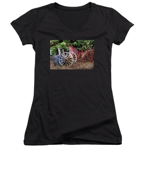 Women's V-Neck T-Shirt (Junior Cut) featuring the photograph Abandoned Cart by Jim and Emily Bush