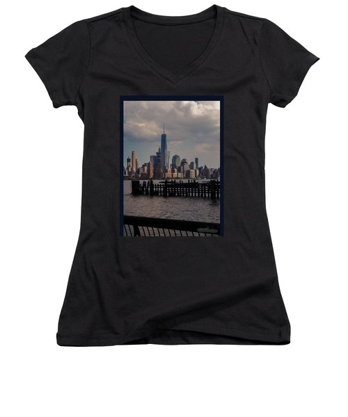 Abandoned Hoboken Pier Women's V-Neck (Athletic Fit)