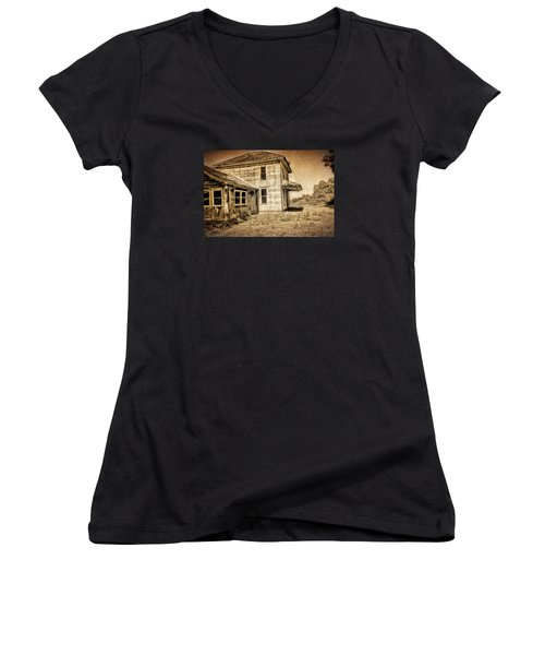 Abandoned House Women's V-Neck T-Shirt (Junior Cut) by Bonnie Bruno