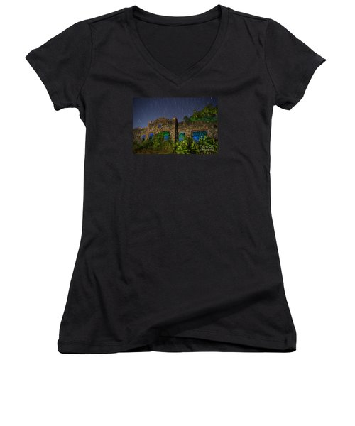 Abandoned Outlaw Gas Station II Women's V-Neck T-Shirt (Junior Cut) by Keith Kapple