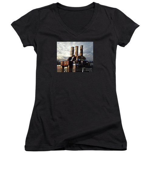 Women's V-Neck T-Shirt (Junior Cut) featuring the photograph Abandoned Power Plant by Lyric Lucas