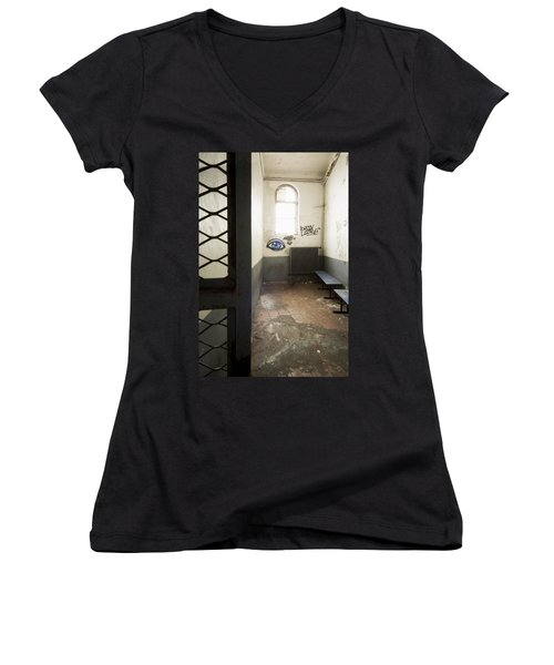 Abandoned Prison Cell With Grafitti Of Eye On Wall Women's V-Neck T-Shirt