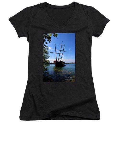 Abandoned Ship Women's V-Neck T-Shirt (Junior Cut) by Al Bourassa