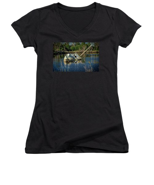 Abandoned Ship Women's V-Neck T-Shirt (Junior Cut)