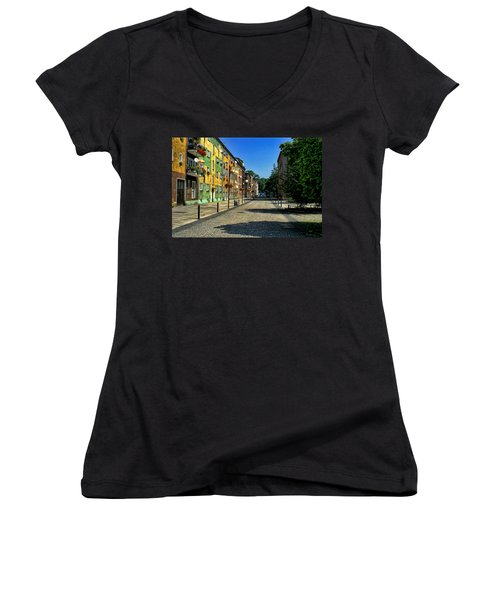 Women's V-Neck T-Shirt (Junior Cut) featuring the photograph Abandoned Street by Mariola Bitner