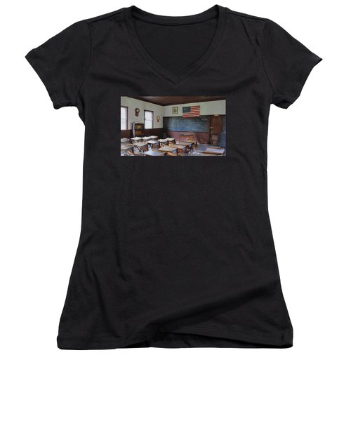 Women's V-Neck T-Shirt (Junior Cut) featuring the digital art Abc's Of Learning by Sharon Batdorf