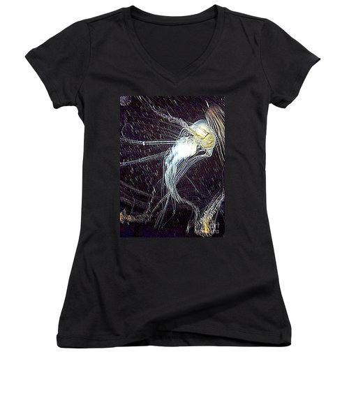 Women's V-Neck T-Shirt (Junior Cut) featuring the photograph Aberration Of Jelly Fish In Rhapsody Series 2 by Antonia Citrino