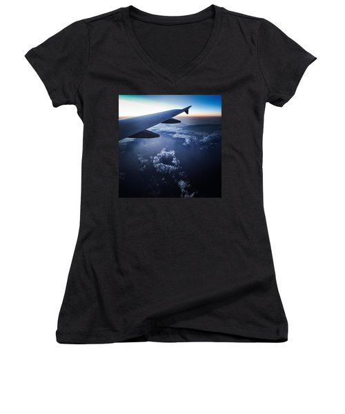 Above The Clouds 02 Heart Cloud Women's V-Neck (Athletic Fit)