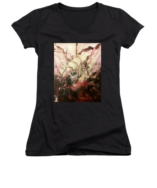 Women's V-Neck T-Shirt (Junior Cut) featuring the painting Abstract #01 by Raymond Doward