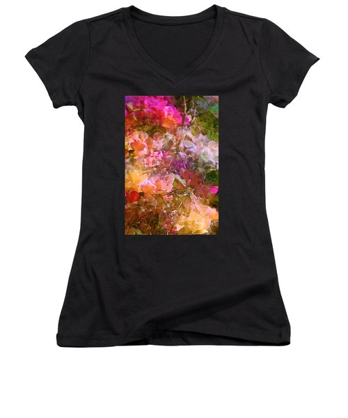 Abstract 276 Women's V-Neck T-Shirt (Junior Cut) by Pamela Cooper