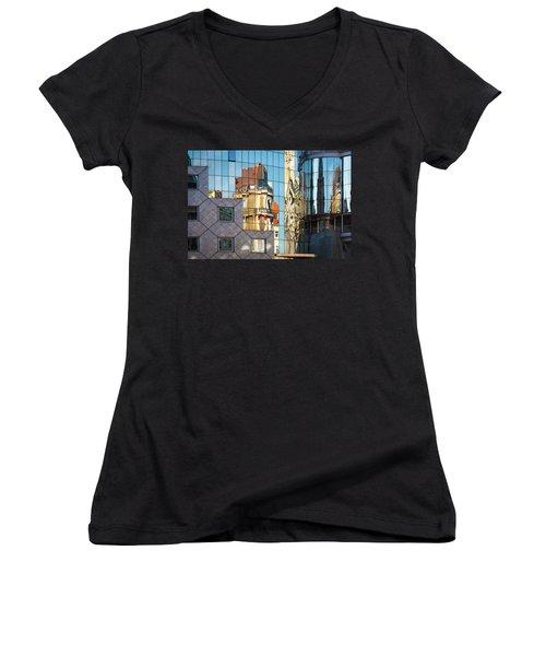 Abstract Architecture Women's V-Neck T-Shirt (Junior Cut) by Teemu Tretjakov