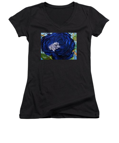 Abstract Blue Women's V-Neck T-Shirt