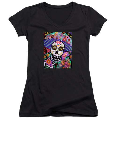 Women's V-Neck T-Shirt (Junior Cut) featuring the painting Abstract Catrina by Pristine Cartera Turkus