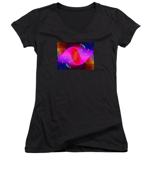 Women's V-Neck T-Shirt (Junior Cut) featuring the digital art Abstract Cubed 354 by Tim Allen