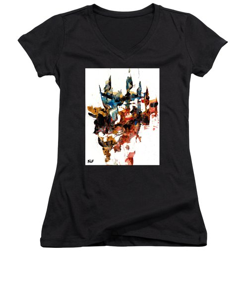 Abstract Expressionism Painting Series 750.102910 Women's V-Neck T-Shirt (Junior Cut) by Kris Haas