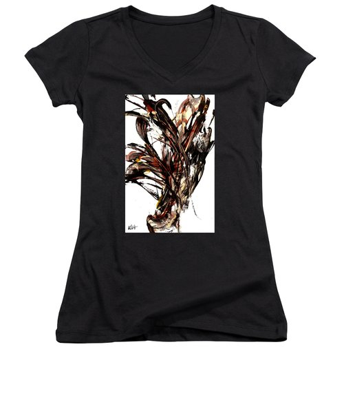 Abstract Expressionism Series 58.121210 Women's V-Neck T-Shirt (Junior Cut) by Kris Haas