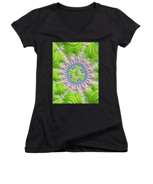 Women's V-Neck T-Shirt featuring the digital art Abstract Fractal Art Greenery Rose Quartz Serenity by Matthias Hauser