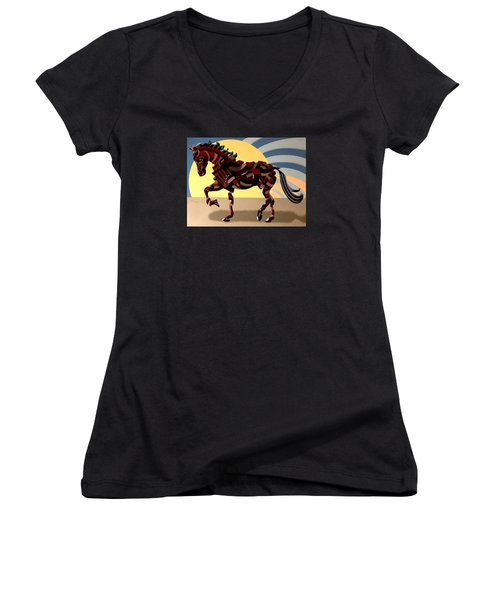 Abstract Geometric Futurist Horse Women's V-Neck T-Shirt