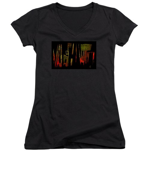 Women's V-Neck T-Shirt (Junior Cut) featuring the painting Abstract II - 19dec2016 by Jim Vance