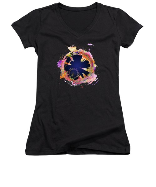 Abstract London Skyline At Night Women's V-Neck (Athletic Fit)
