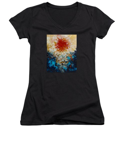 Abstract Blood Moon Women's V-Neck