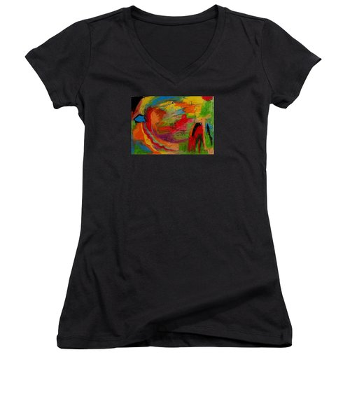 Abstract No. 3 Inner Landscape Women's V-Neck T-Shirt (Junior Cut) by Maria  Disley