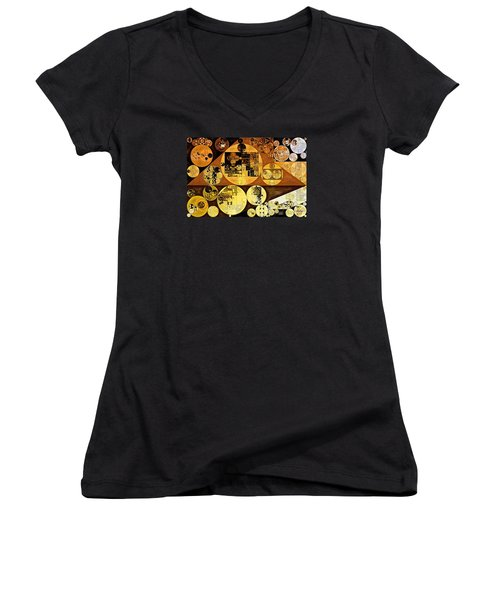 Women's V-Neck T-Shirt (Junior Cut) featuring the digital art Abstract Painting - Mai Tai by Vitaliy Gladkiy