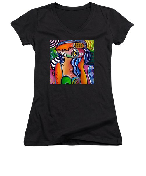 Abstract Pop Art Original Painting Shabby Chic Women's V-Neck (Athletic Fit)