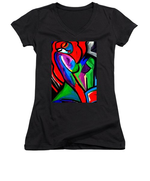 Abstract  Rain Bow Girl Women's V-Neck T-Shirt (Junior Cut) by Nora Shepley