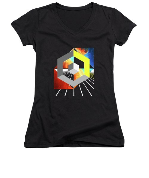 Abstract Space 4 Women's V-Neck T-Shirt (Junior Cut) by Russell K