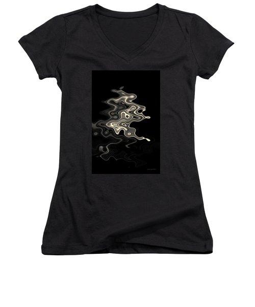 Abstract Swirl Monochrome Toned Women's V-Neck