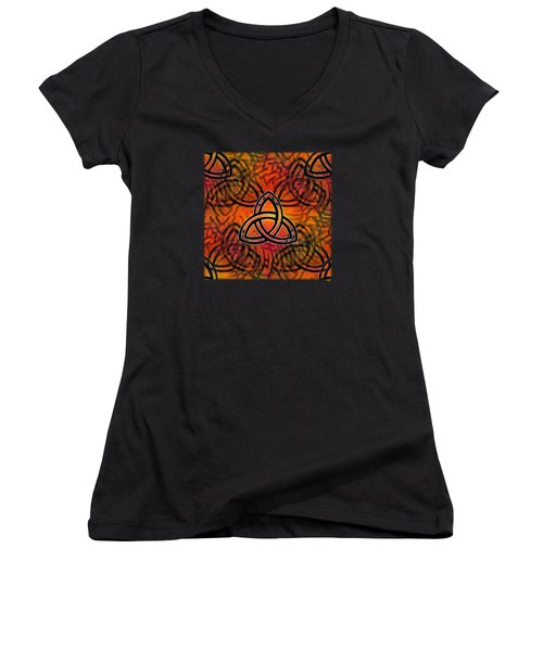 Women's V-Neck T-Shirt (Junior Cut) featuring the digital art Abstract - Trinity by Glenn McCarthy Art and Photography