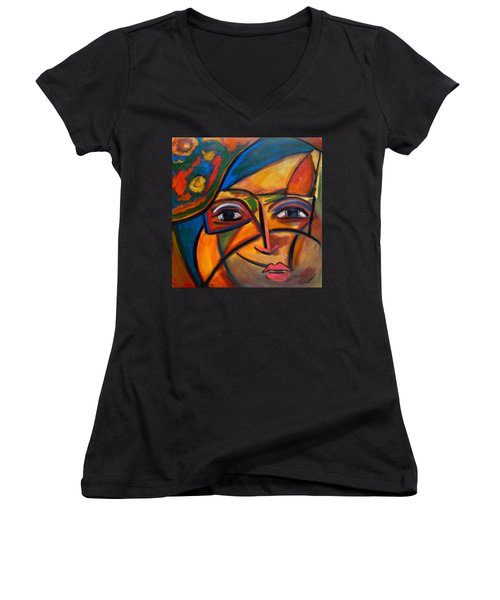 Abstract Woman With Flower Hat Women's V-Neck
