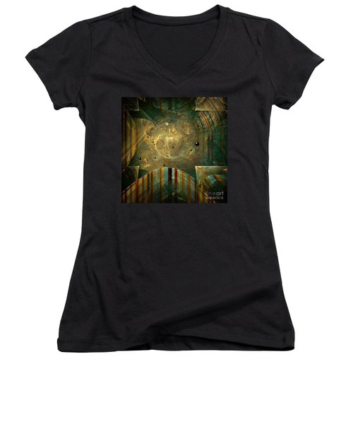 Women's V-Neck T-Shirt (Junior Cut) featuring the painting Abstractus by Alexa Szlavics