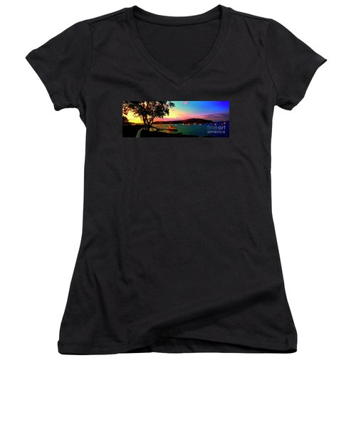 Women's V-Neck T-Shirt (Junior Cut) featuring the photograph  Acadia Bar Harbor Sunset Cruises by Tom Jelen