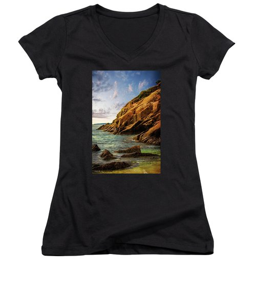 Acadia National Park--maine Women's V-Neck T-Shirt (Junior Cut) by Sherman Perry