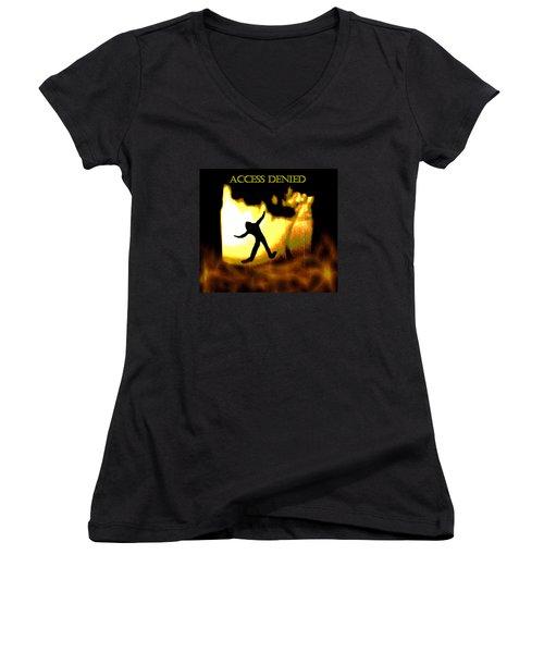 Women's V-Neck T-Shirt (Junior Cut) featuring the digital art Access Denied Apparel by Aliceann Carlton