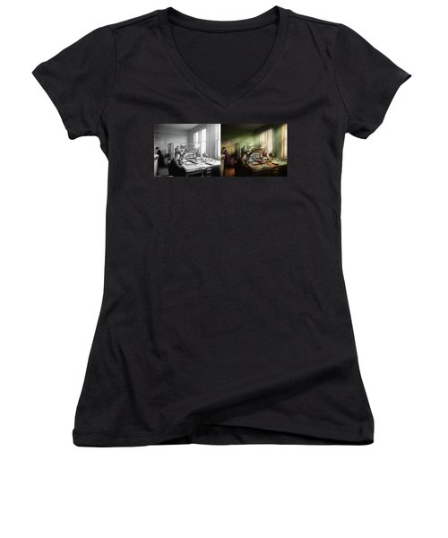 Women's V-Neck T-Shirt featuring the photograph Accountant - The- Bookkeeping Dept 1902 - Side By Side by Mike Savad
