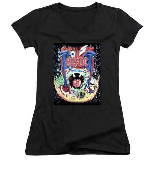 Acdc Women's V-Neck T-Shirt (Junior Cut) by Gina Dsgn