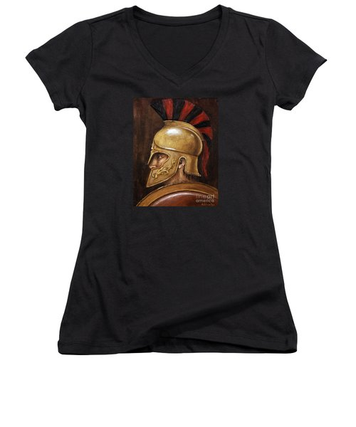 Women's V-Neck T-Shirt (Junior Cut) featuring the painting Achilles by Arturas Slapsys
