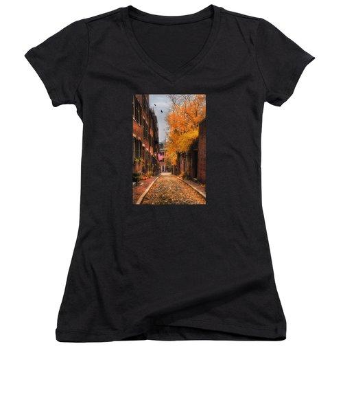 Acorn St. Women's V-Neck T-Shirt (Junior Cut) by Joann Vitali