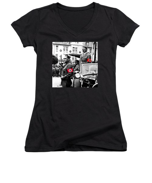 Adolf Hitler Giving The Nazi Salute From A Mercedes #3 C. 1934-2015 Women's V-Neck T-Shirt (Junior Cut) by David Lee Guss