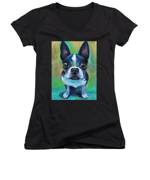 Adorable Boston Terrier Dog Women's V-Neck
