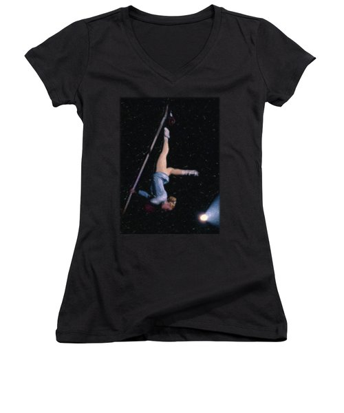 Aerial Acrobat Women's V-Neck T-Shirt (Junior Cut) by Jon Delorme