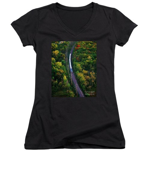 Aerial Of  Commuter Train  Women's V-Neck