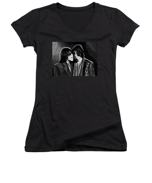 Aerosmith Toxic Twins Mixed Media Women's V-Neck T-Shirt (Junior Cut) by Paul Meijering