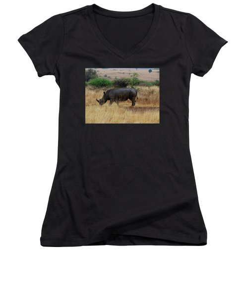 African Animals On Safari - One Very Rare White Rhinoceros Right Angle With Background Women's V-Neck (Athletic Fit)